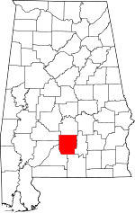 Alabama Map showing Butler County