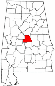 Alabama Map showing Chilton County