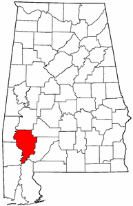 Alabama Map showing Clarke County