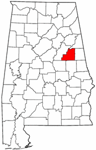 Alabama Map showing Clay County