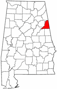 Alabama Map showing Cleburne County