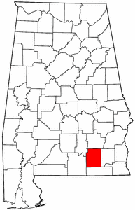 Alabama Map showing Coffee County
