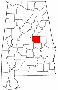 Alabama Map showing Coosa County