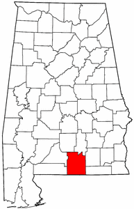 Alabama Map showing Covington County