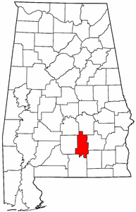 Alabama Map showing Crenshaw County