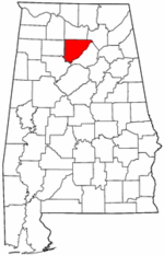 Alabama Map showing Cullman County