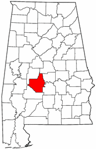 Alabama Map showing Dallas County