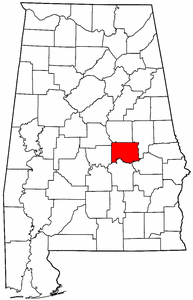 Alabama Map showing Elmore County