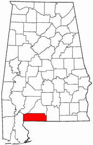Alabama Map showing Escambia County