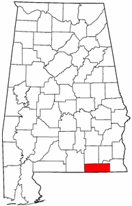 Alabama Map showing Geneva County
