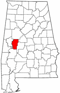 Alabama Map showing Hale County