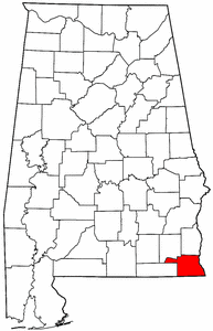 Alabama Map showing Houston County