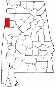 Alabama Map showing Lamar County
