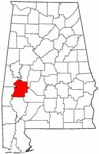 Alabama Map showing Marengo County