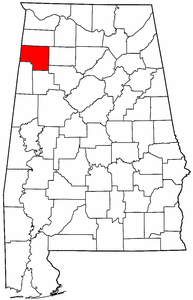 Alabama Map showing Marion County