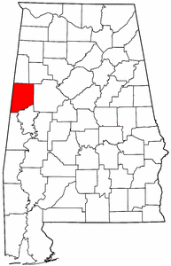 Alabama Map showing Pickens County