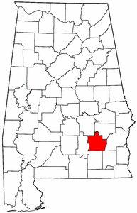 Alabama Map showing Pike County