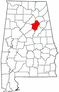 Alabama Map showing Saint Clair County