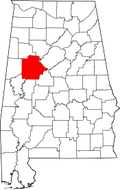 Alabama Map showing Tuscaloosa County