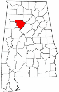 Alabama Map showing Walker County