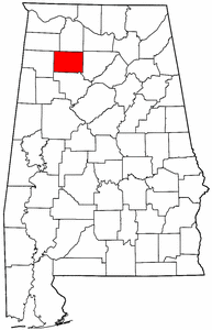 Alabama Map showing Winston County