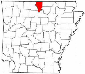 Arkansas Map showing Baxter County