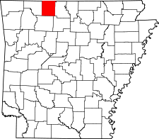 Arkansas Map showing Boone County