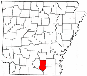 Arkansas Map showing Bradley County