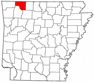 Arkansas Map showing Carroll County