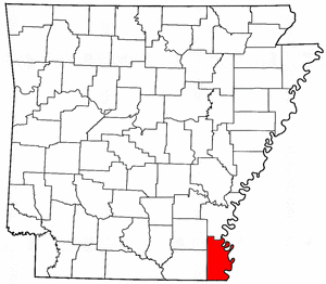 Arkansas Map showing Chicot County