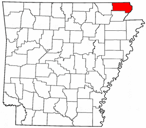Arkansas Map showing Clay County