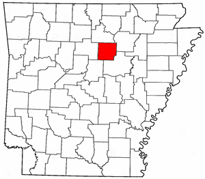 Arkansas Map showing Cleburne County