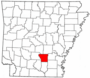 Arkansas Map showing Cleveland County