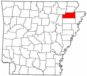 Arkansas Map showing Craighead County