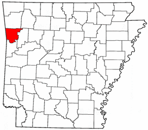 Arkansas Map showing Crawford County