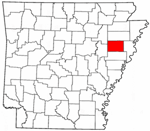 Arkansas Map showing Cross County