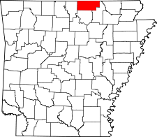 Arkansas Map showing Fulton County