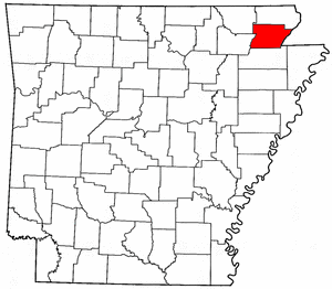 Arkansas Map showing Greene County