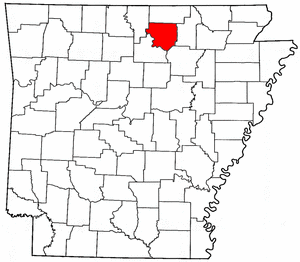 Arkansas Map showing Izard County