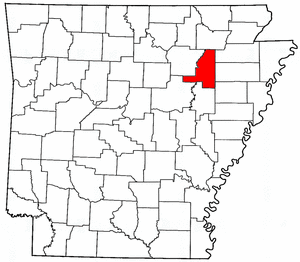Arkansas Map showing Jackson County