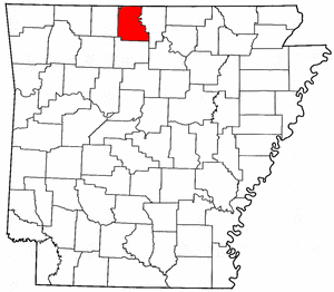 Arkansas Map showing Marion County