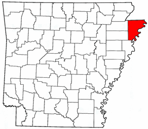 Arkansas Map showing Mississippi County