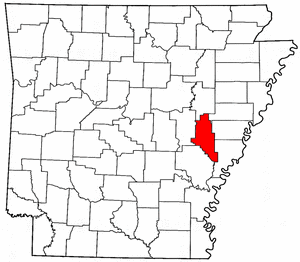 Arkansas Map showing Monroe County