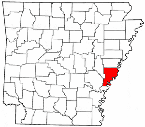 Arkansas Map showing Phillips County