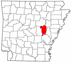 Arkansas Map showing Prairie County