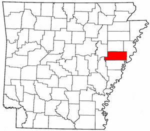 Arkansas Map showing Saint Francis County