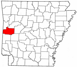 Arkansas Map showing Scott County