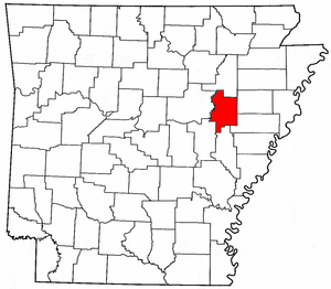 Arkansas Map showing Woodruff County