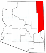 Arizona Map showing Apache County