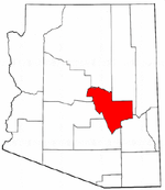 Arizona Map showing Gila County